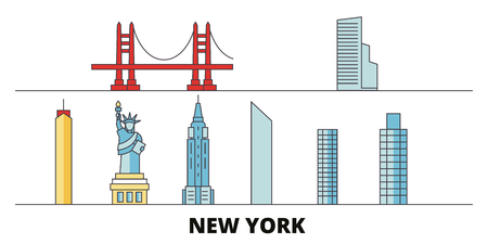 United States, New York flat landmarks vector illustration. United States, New York line city with famous travel sights, design skyline.  イラスト・ベクター素材