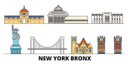 United States, New York Bronx flat landmarks vector illustration. United States, New York Bronx line city with famous travel sights, design skyline.