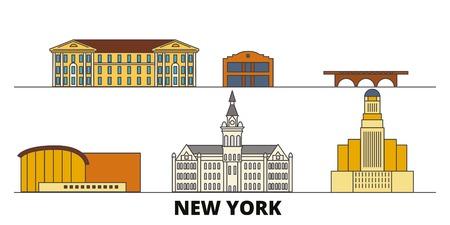 United States, New York Buffalo flat landmarks vector illustration. United States, New York Buffalo line city with famous travel sights, design skyline.