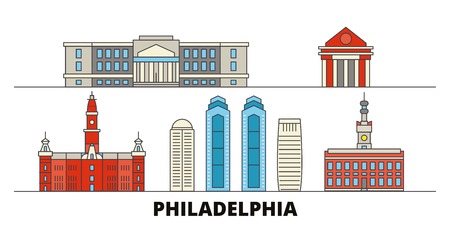 United States, Philadelphia flat landmarks vector illustration. United States, Philadelphia line city with famous travel sights, design skyline.