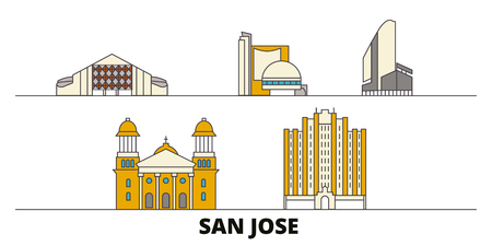 United States, San Jose flat landmarks vector illustration. United States, San Jose line city with famous travel sights, design skyline. Ilustrace