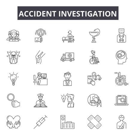 Icone della linea di indagine sugli incidenti. Tratto modificabile. Illustrazioni concettuali: incidente d'auto, investigatore, ispezione, polizia, strada, danno, esame, assicurazione ecc. Icone di contorno di indagine sugli incidenti