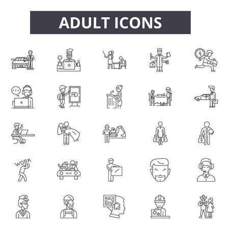 Adult line icons. Editable stroke. Concept illustrations: education, learning, leisure, woman, man etc. Adult outline icons Ilustração Vetorial