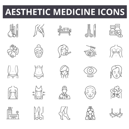 Liniensymbole für ästhetische Medizin. Bearbeitbare Strichzeichen. Konzeptikonen: Gesicht, Behandlung, weibliches Verfahren, Hautschönheit usw. Ästhetische Medizinumrissillustrationen