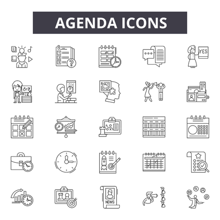 Agenda line icons. Editable stroke. Concept illustrations: meeting, business, calendar, schedule, appointment etc. Agenda  outline icons 矢量图像