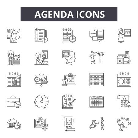 Icônes de la ligne de l'ordre du jour. Trait modifiable. Illustrations de concept : réunion, affaires, calendrier, calendrier, rendez-vous, etc. Icônes de contour de l'ordre du jour