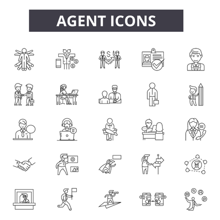 Agent line icons. Editable stroke. Concept illustrations: real estate, showing house, home, salesperson etc. Agent  outline icons