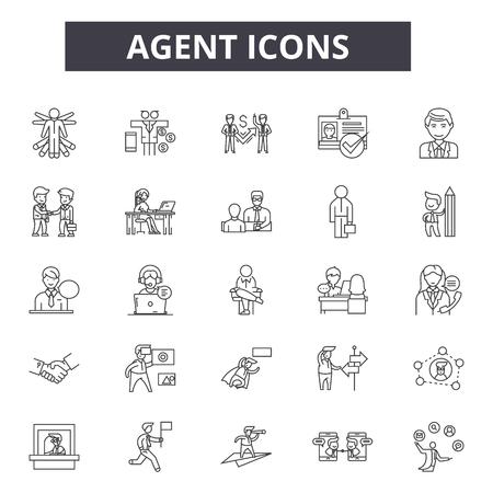 Symbole für die Agentenlinie. Bearbeitbarer Strich. Konzeptillustrationen: Immobilien, Haus, Haus, Verkäufer usw. zeigen. Symbole für die Umrisse von Agenten