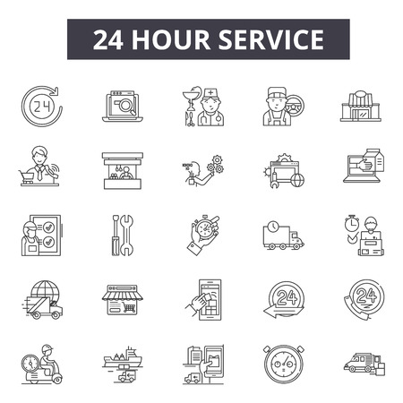 24 hour services line icons. Editable stroke. Concept illustrations: support,assistance,clock,open,business,delivery, customer help etc. 24 hour services  outline icons