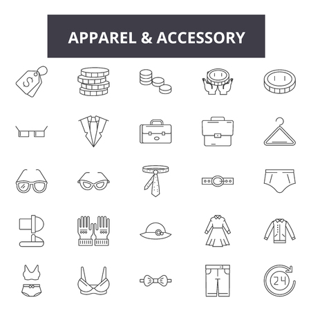 Apparel & accessory stores line icons for web and mobile. Editable stroke signs. Apparel & accessory stores  outline concept illustrations