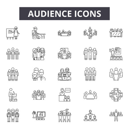 Audience line icons for web and mobile. Editable stroke signs. Audience  outline concept illustrations Çizim