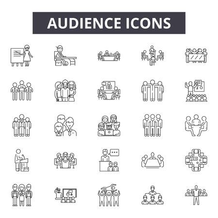 Iconos de línea de audiencia para web y móvil. Signos de trazo editables. Ilustraciones del concepto de esquema de audiencia
