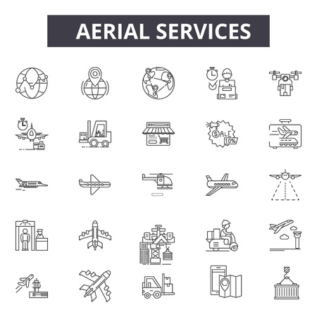 Aerial services line icons. Editable stroke. Concept illustrations: transportation, industrial trandport, airport, carrier etc. Aerial services  outline icons