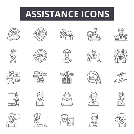 Icone della linea di assistenza per web e mobile. Segni di tratto modificabili. Illustrazioni del concetto di contorno di assistenza