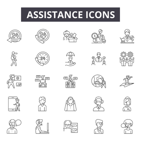 Assistance line icons for web and mobile. Editable stroke signs. Assistance  outline concept illustrations Illustration