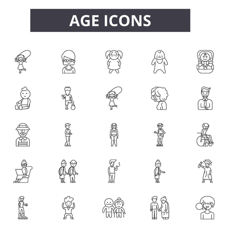 Age line icons. Editable stroke. Concept illustrations: woman, female, person, mature, aged, happy senior, man etc. Age  outline icons Illustration