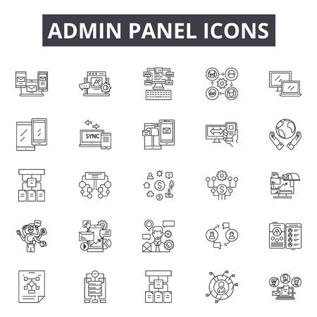 Admin panel line icons. Editable stroke. Concept illustrations: dashboard, technology, network, website, kpi etc. Admin panel  outline icons