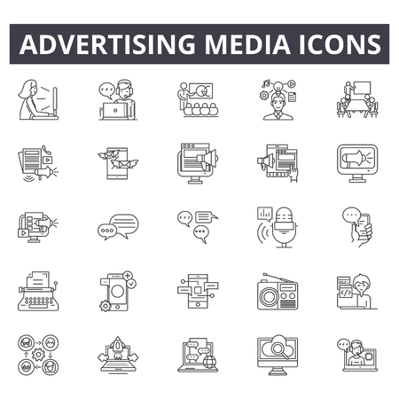 Advertising media line icons. Editable stroke. Concept illustrations: business, marketing, communication, mobile promotion, lead etc. Advertising media  outline icons