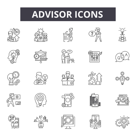 Advisor line icons. Editable stroke. Concept illustrations: meeting, financial consultant, investment, businessman, office etc. Advisor  outline icons