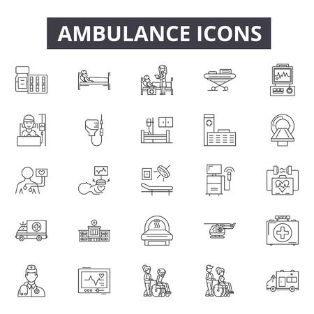 Ambulance line icons for web and mobile. Editable stroke signs. Ambulance  outline concept illustrations  イラスト・ベクター素材