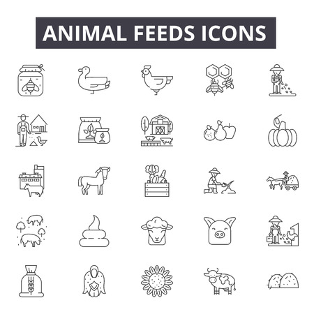 Animal feeds line icons for web and mobile. Editable stroke signs. Animal feeds  outline concept illustrations