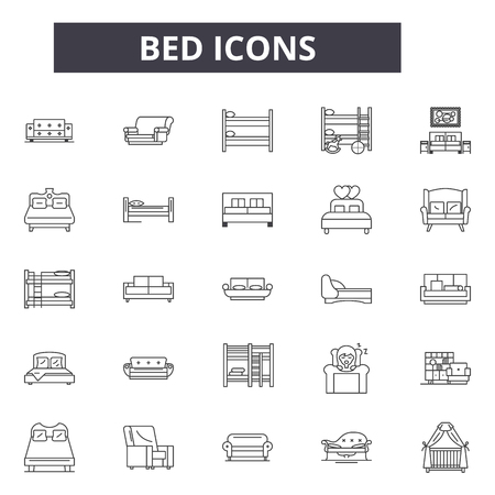 Bed line icons for web and mobile. Editable stroke signs. Bed  outline concept illustrations