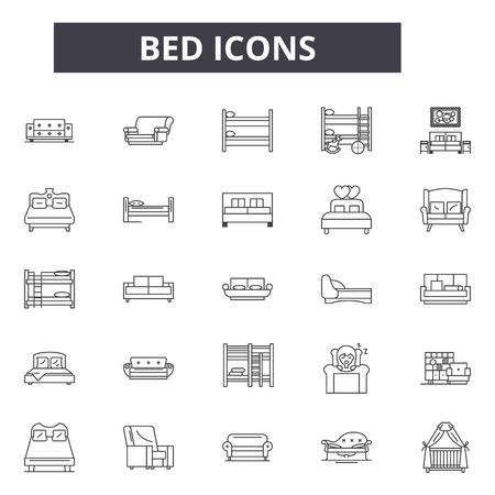 Bettzeilensymbole für Web und Mobile. Bearbeitbare Strichzeichen. Illustrationen zum Konzept des Bettumrisses Vektorgrafik