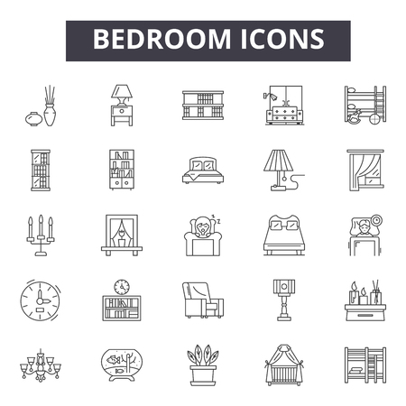 Bedroom line icons for web and mobile. Editable stroke signs. Bedroom  outline concept illustrations