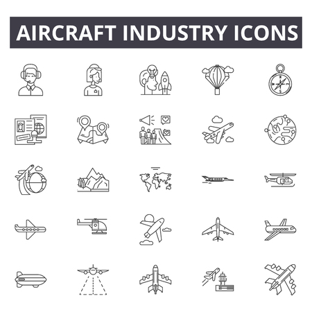 Aircraft industry line icons. Editable stroke. Concept illustrations: aviation, jet, airplane, aerial transport, flight etc. Aircraft industry outline icons