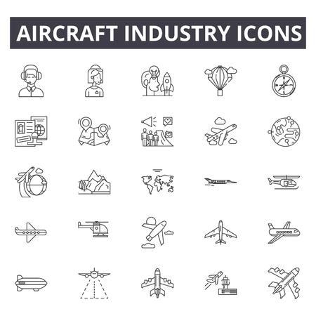 Liniensymbole für die Flugzeugindustrie. Bearbeitbarer Strich. Konzeptillustrationen: Luftfahrt, Jet, Flugzeug, Luftverkehr, Flug usw. Symbole für die Flugzeugindustrie Vektorgrafik