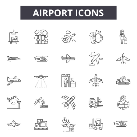 Airport line icons for web and mobile. Editable stroke signs. Airport  outline concept illustrations