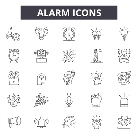 Alarm line icons for web and mobile design. Editable stroke signs. Alarm outline concept illustrations Ilustração