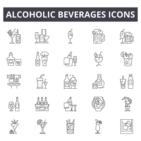 Alcoholic beverages line icons for web and mobile. Editable stroke signs. Alcoholic beverages  outline concept illustrations