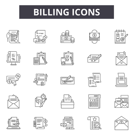 Billing line icons for web and mobile. Editable stroke signs. Billing  outline concept illustrations