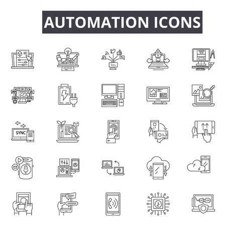 Automation line icons for web and mobile. Editable stroke signs. Automation  outline concept illustrations  イラスト・ベクター素材