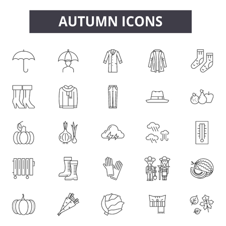Autumn line icons for web and mobile. Editable stroke signs. Autumn  outline concept illustrations Illustration