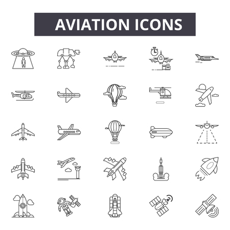 Aviation line icons for web and mobile. Editable stroke signs. Aviation  outline concept illustrations