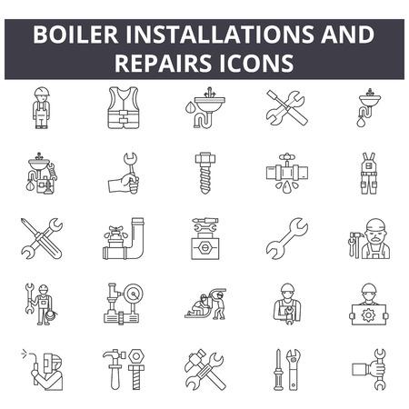 Icone della linea di installazione e riparazione di caldaie per web e dispositivi mobili. Segni di tratto modificabili. Le installazioni e le riparazioni della caldaia delineano le illustrazioni concettuali Vettoriali