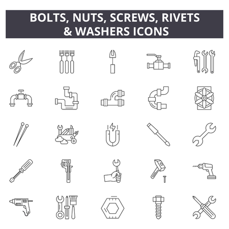 Bolts, nuts, screw, rivets & washers line icons for web and mobile. Editable stroke signs. Bolts, nuts, screw, rivets & washers  outline concept illustrations Illustration