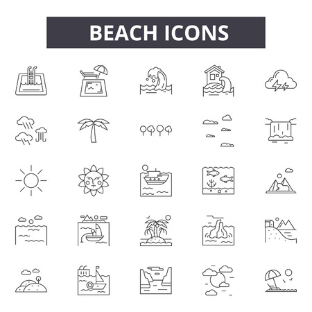 Beach line icons for web and mobile. Editable stroke signs. Beach  outline concept illustrations 写真素材 - 119392034