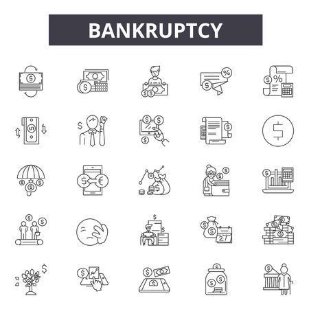 Bankruptcy line icons for web and mobile. Editable stroke signs. Bankruptcy  outline concept illustrations  イラスト・ベクター素材