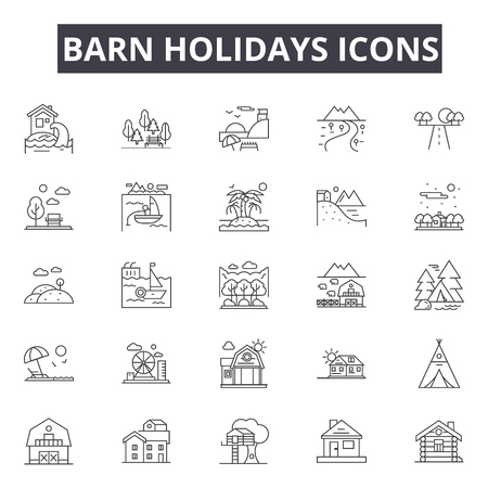 Barn holidays line icons for web and mobile. Editable stroke signs. Barn holidays  outline concept illustrations