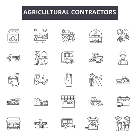 Agricultural contractors line icons. Editable stroke. Concept illustrations: contractor, farmer, industry, agricultural equipment etc. Agricultural contractors outline icons Ilustração Vetorial