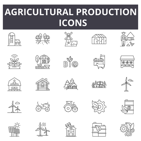 Agricultural production line icons. Editable stroke. Concept illustrations: agriculture, farming, tractor, harvest, organic industry etc. Agricultural production outline icons