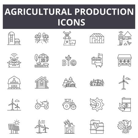 Ikony linii produkcji rolniczej. Obrys edytowalny. Ilustracje koncepcyjne: rolnictwo, rolnictwo, ciągnik, żniwa, przemysł ekologiczny itp. Ikony zarysu produkcji rolnej