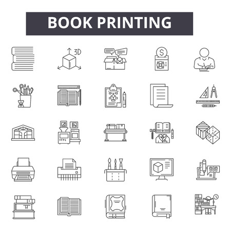 Book printing line icons for web and mobile. Editable stroke signs. Book printing  outline concept illustrations 免版税图像 - 119392044