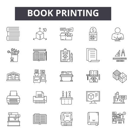 Iconos de línea de impresión de libros para web y móvil. Signos de trazo editables. Ilustraciones del concepto de esquema de impresión de libros Ilustración de vector