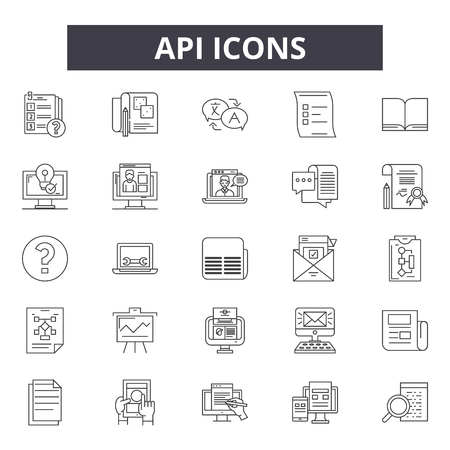 Api line icons for web and mobile. Editable stroke signs. Api  outline concept illustrations