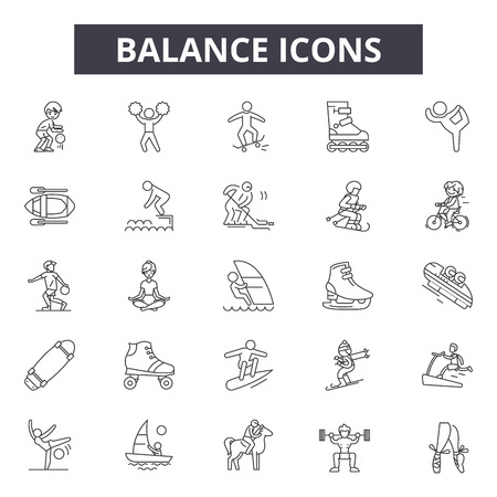 Balance line icons for web and mobile. Editable stroke signs. Balance outline concept illustrations