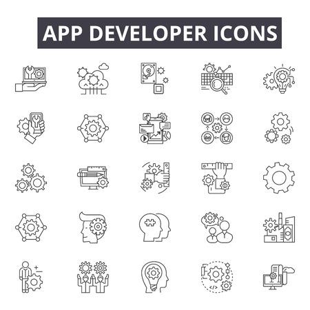 App developer line icons for web and mobile. Editable stroke signs. App developer outline concept illustrations